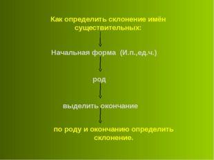 Как определить склонение имён существительных: Начальная форма (И.п.,ед.ч.) р
