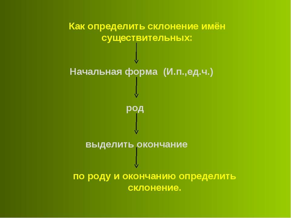 Как определить склонение имён существительных: Начальная форма (И.п.,ед.ч.) р...