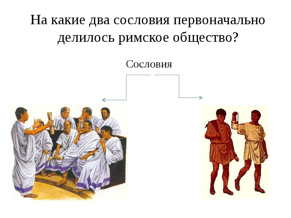 На какие два сословия первоначально делилось римское общество? Сословия