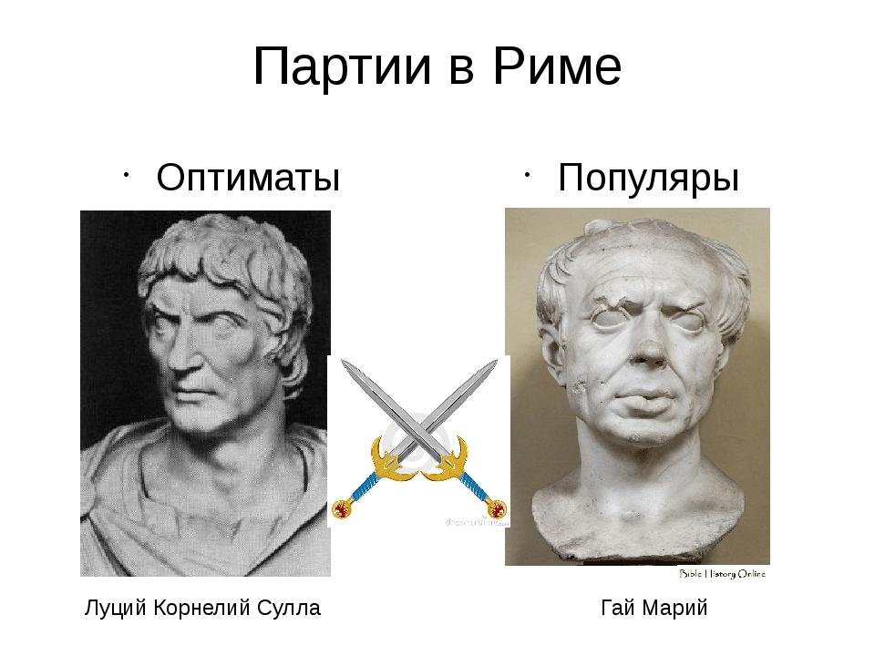 Партии в Риме Оптиматы Популяры Луций Корнелий Сулла Гай Марий