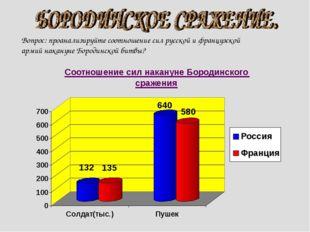 Вопрос: проанализируйте соотношение сил русской и французской армий накануне
