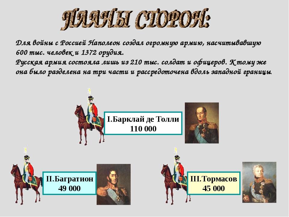 Для войны с Россией Наполеон создал огромную армию, насчитывавшую 600 тыс. че...