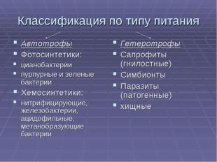 Классификация по типу питания Автотрофы Фотосинтетики: цианобактерии пурпурны