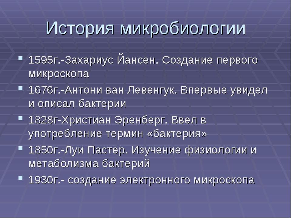 История микробиологии 1595г.-Захариус Йансен. Создание первого микроскопа 167...