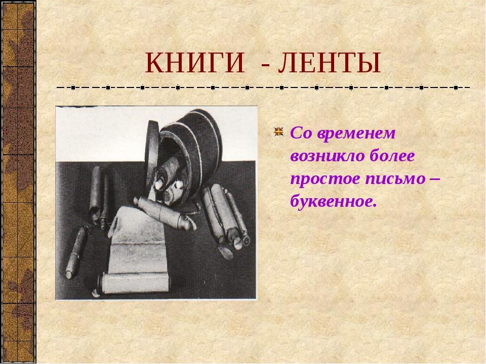 КНИГИ - ЛЕНТЫ Со временем возникло более простое письмо – буквенное.