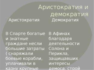 Аристократия и демократия Аристократия В Спарте богатые и знатные граждане не