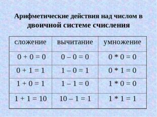 Арифметические действия над числом в двоичной системе счисления