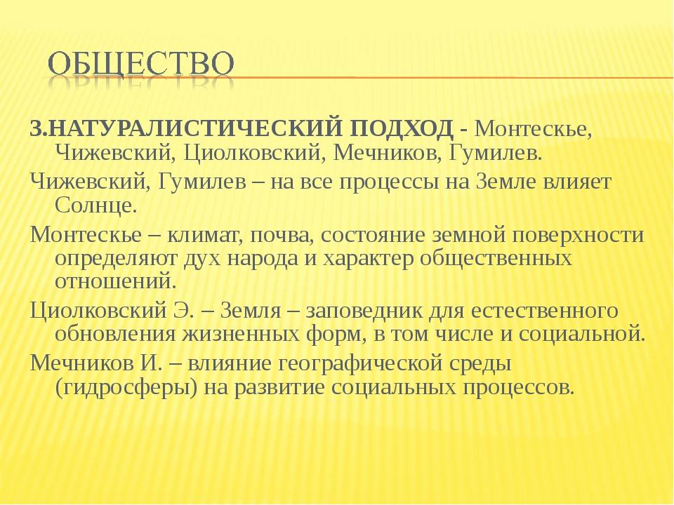 3.НАТУРАЛИСТИЧЕСКИЙ ПОДХОД - Монтескье, Чижевский, Циолковский, Мечников, Гум...