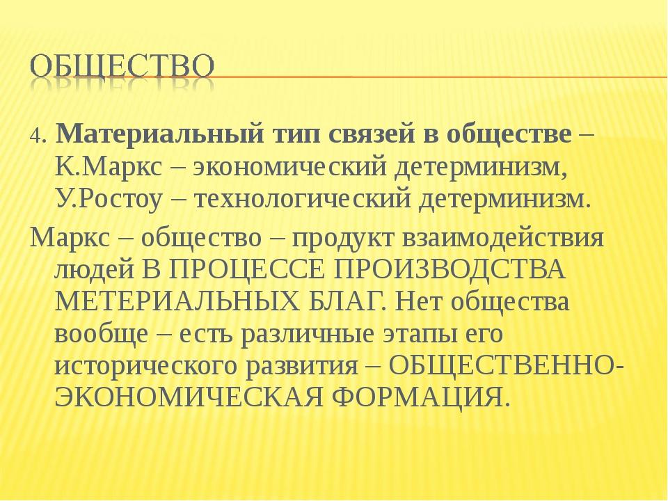 4. Материальный тип связей в обществе – К.Маркс – экономический детерминизм,...