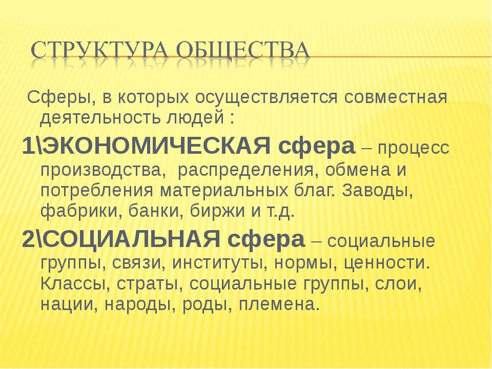 Сферы, в которых осуществляется совместная деятельность людей : 1\ЭКОНОМИЧЕС...