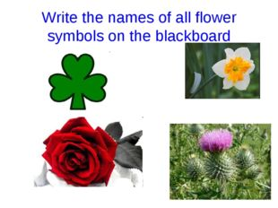 Write the names of all flower symbols on the blackboard