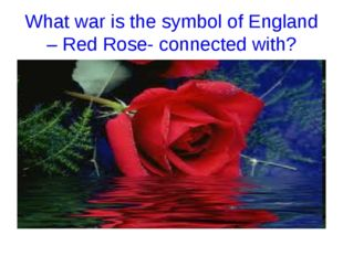 What war is the symbol of England – Red Rose- connected with?