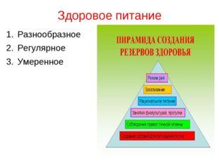 Здоровое питание Разнообразное Регулярное Умеренное