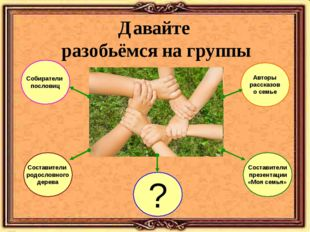 Давайте разобьёмся на группы Составители родословного дерева Собиратели посло