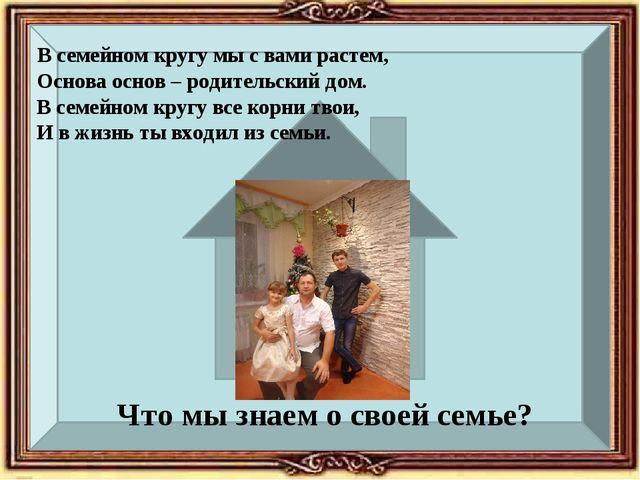 Что мы знаем о своей семье? В семейном кругу мы с вами растем, Основа основ...