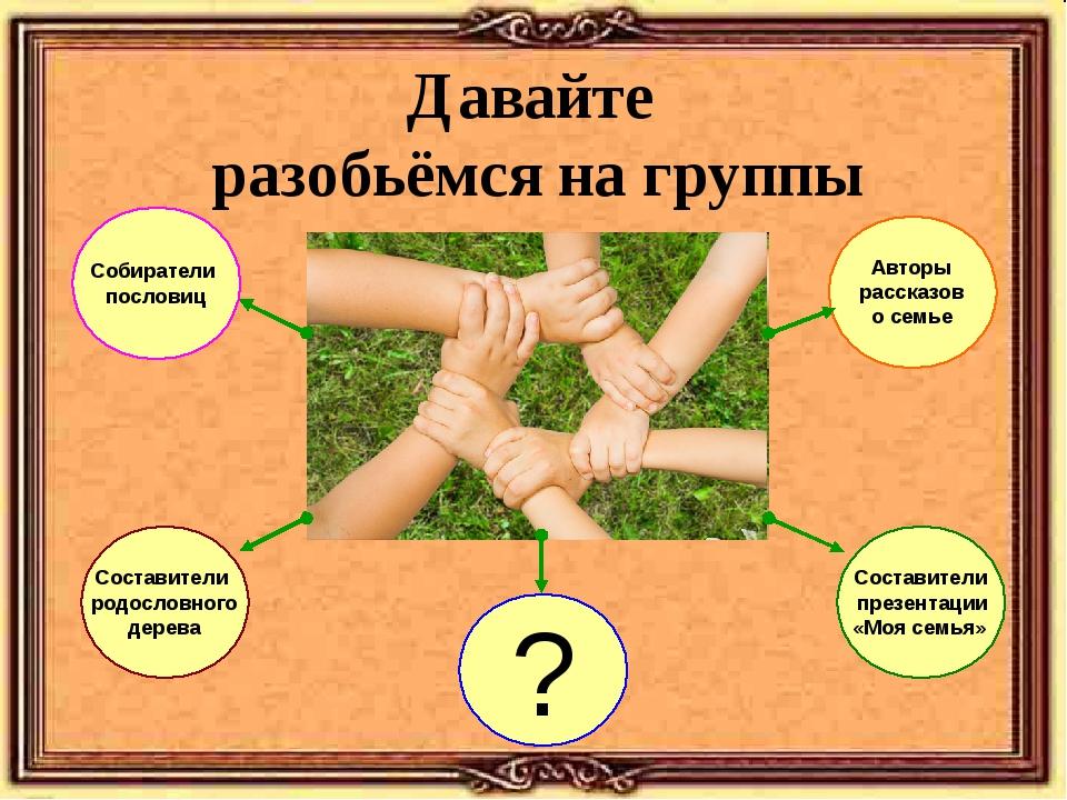 Давайте разобьёмся на группы Составители родословного дерева Собиратели посло...