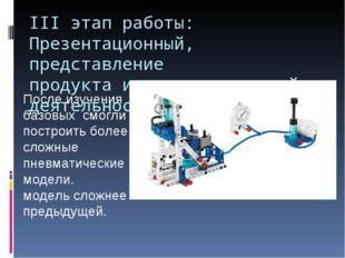 III этап работы: Презентационный, представление продукта исследовательской де