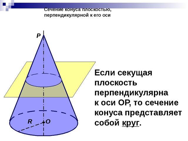 Сечение конуса плоскостью, перпендикулярной к его оси О R Р Если секущая плос...