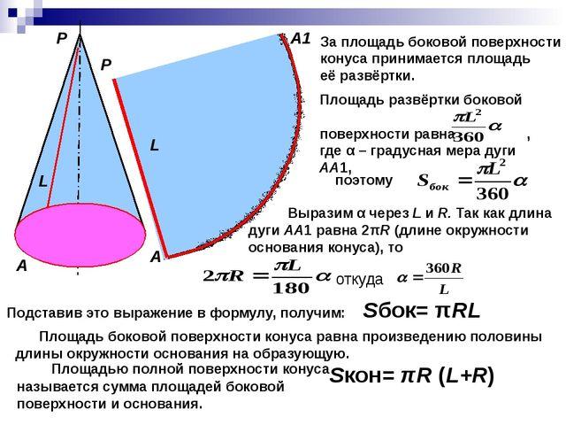А Р L R О Р А А1 L За площадь боковой поверхности конуса принимается площадь...