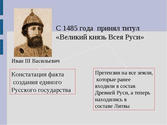С 1485 года принял титул «Великий князь Всея Руси» Констатация факта создания...