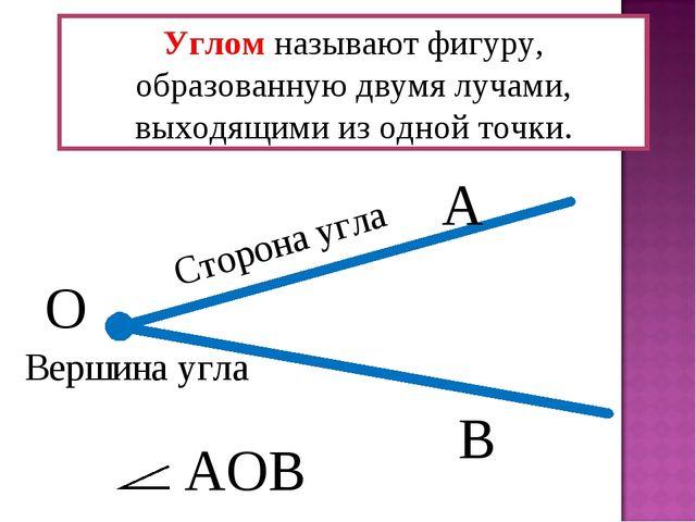 Углом называют фигуру, образованную двумя лучами, выходящими из одной точки....