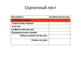 Оценочный лист Вид работыКоличество баллов Домашнее задание Определение по