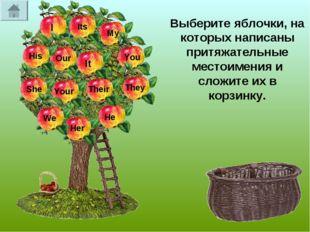 Выберите яблочки, на которых написаны притяжательные местоимения и сложите их