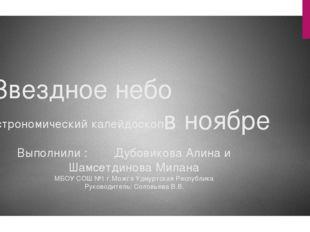 Звездное небо в ноябре Астрономический калейдоскоп Выполнили : Дубовикова Али