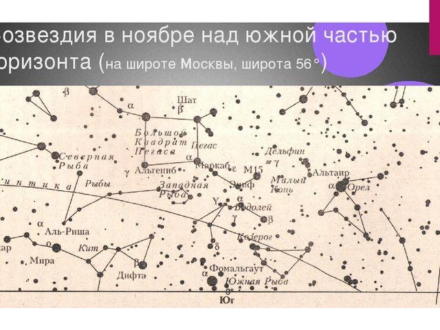 Созвездия в ноябре над южной частью горизонта (на широте москвы, широта 56°)