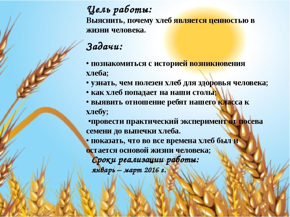 Цель работы: Выяснить, почему хлеб является ценностью в жизни человека. Зада...