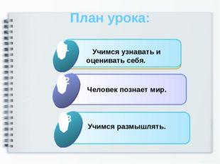 План урока: Click to add Title 1 Учимся узнавать и оценивать себя. 1 Click to