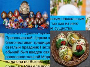 Яйцо считается главным пасхальным символом Воскресения, так как из него появ