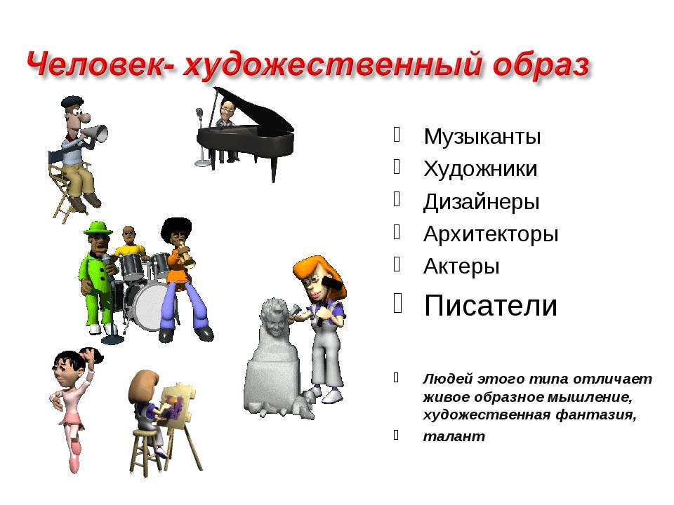 Музыканты Художники Дизайнеры Архитекторы Актеры Писатели Людей этого типа от...