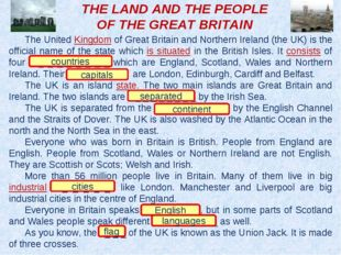 THE LAND AND THE PEOPLE OF THE GREAT BRITAIN The United Kingdom of Great Brit