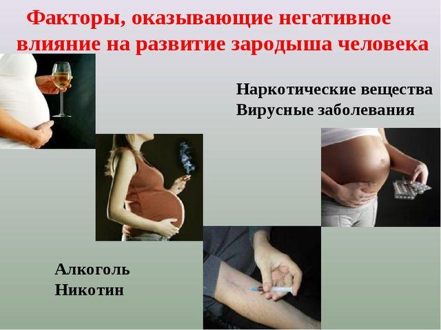 Факторы, оказывающие негативное влияние на развитие зародыша человека Алкого...