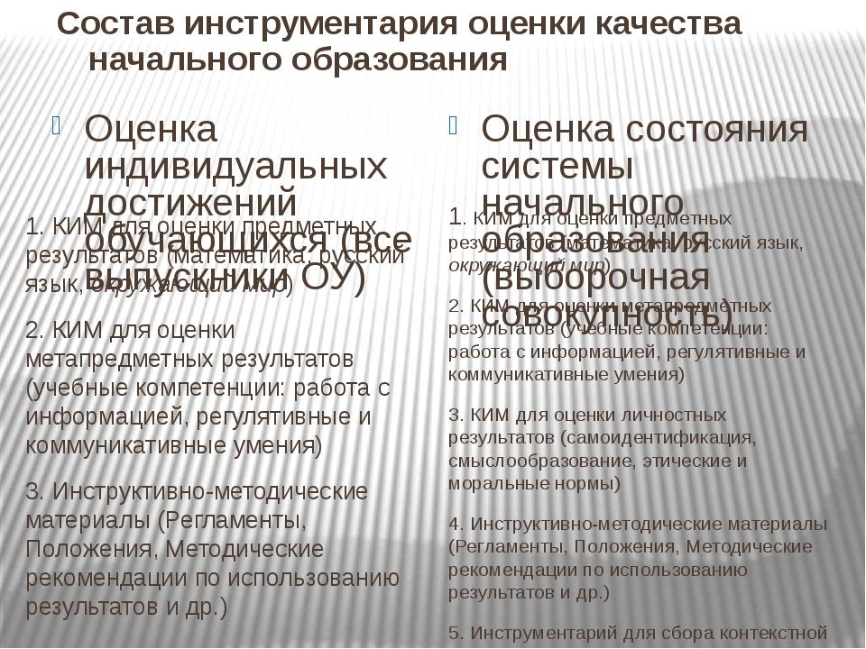 Оценка индивидуальных достижений обучающихся (все выпускники ОУ) 1. КИМ для о...