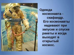 Одежда космонавта - скафандр. Его космонавты надевают при запуске и спуске ра