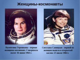 Женщины-космонавты Валентина Терешкова - первая женщина-космонавт. Совершила