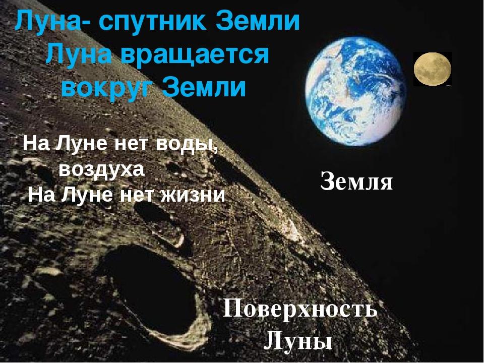 Луна- спутник Земли Луна вращается вокруг Земли Земля На Луне нет воды, возду...