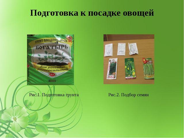 Подготовка к посадке овощей Рис.1. Подготовка грунта Рис.2. Подбор семян