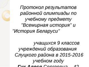 """Протокол результатов районной олимпиады по учебному предмету """"Всемирная истор"""