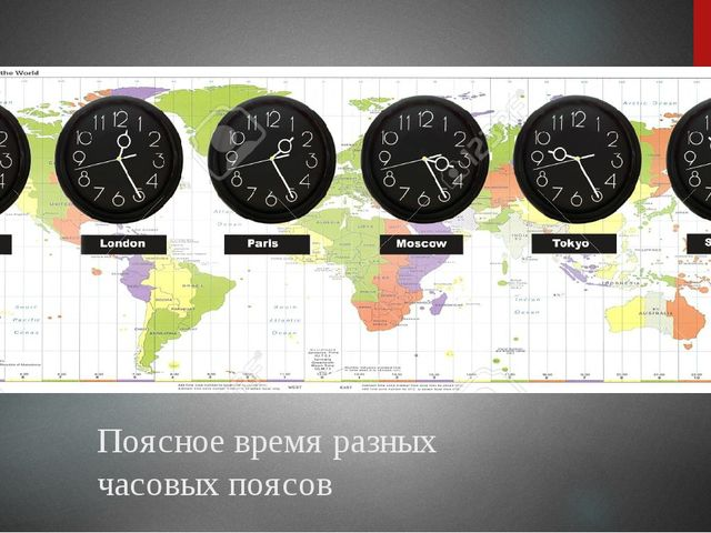 Поясное время разных часовых поясов