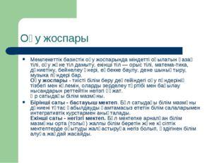 Оқу жоспары Мемлекеттік базистік оқу жоспарында міндетті оқылатын қазақ тілі,