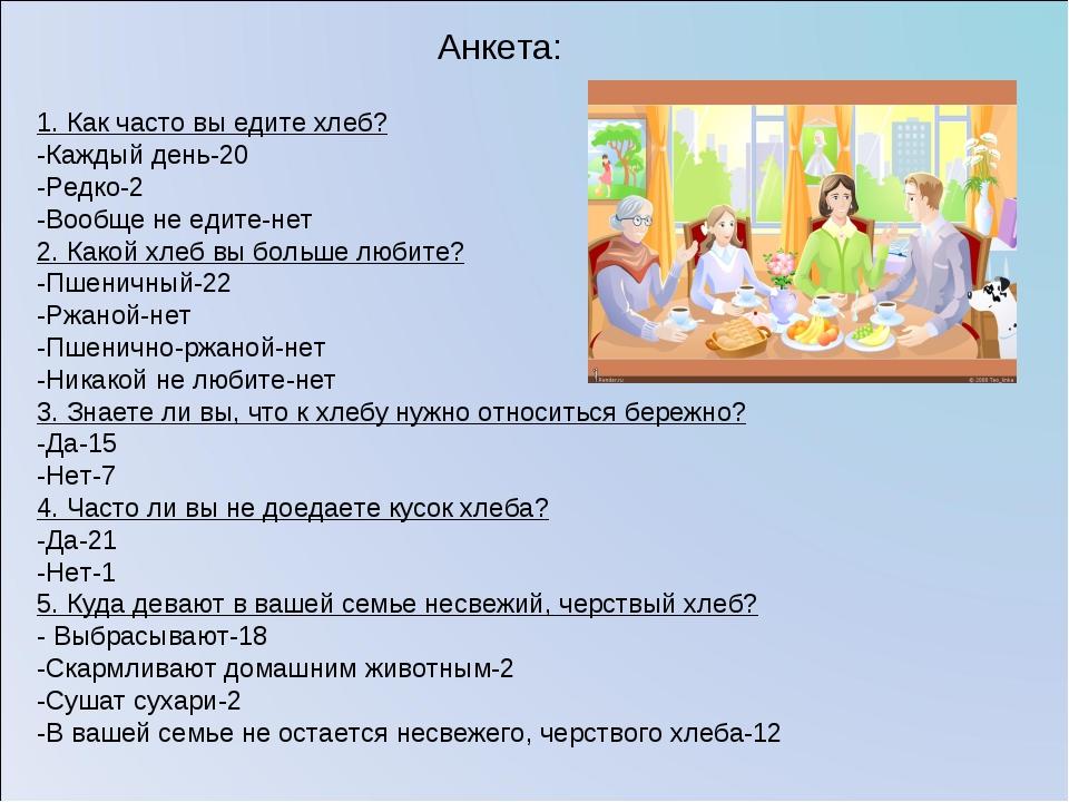 1. Как часто вы едите хлеб? -Каждый день-20 -Редко-2 -Вообще не едите-нет 2....