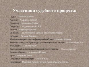 Участники судебного процесса: Судья – Бачаева Зулихан Адвокат – Хадырова Рамн