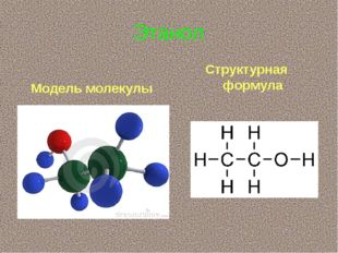 Этанол Модель молекулы Структурная формула