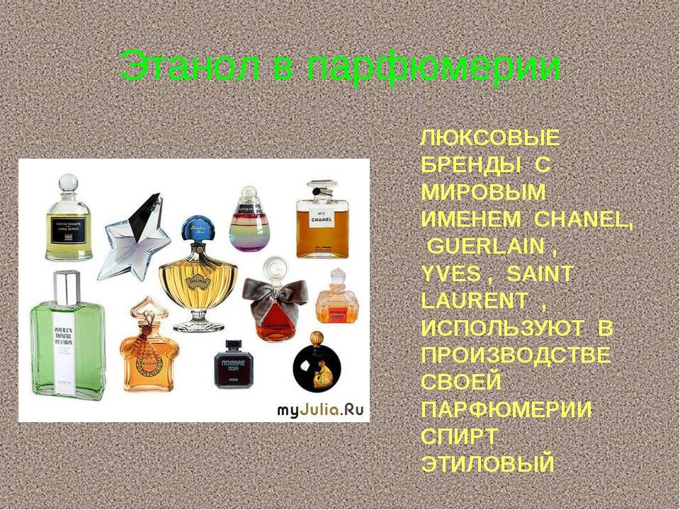 Этанол в парфюмерии ЛЮКСОВЫЕ БРЕНДЫ С МИРОВЫМ ИМЕНЕМ CHANEL, GUERLAIN , YVES...