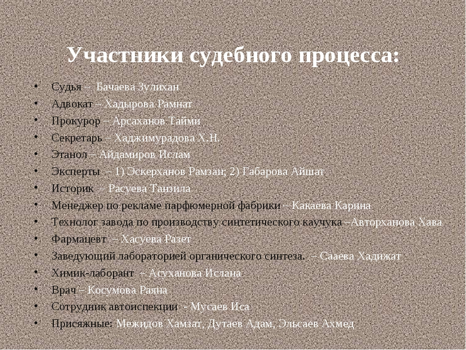 Участники судебного процесса: Судья – Бачаева Зулихан Адвокат – Хадырова Рамн...