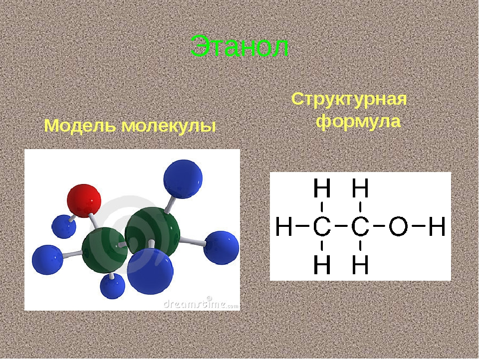 Structural chemical formula and model of ethanol molecule
