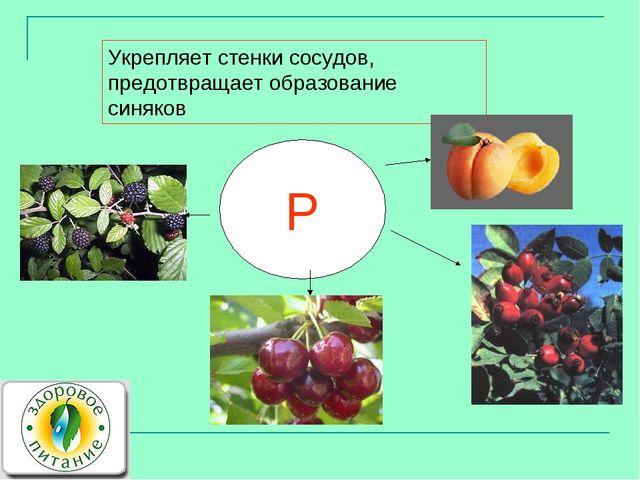 P Укрепляет стенки сосудов, предотвращает образование синяков